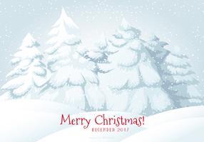 Illustratie van de Sneeuwscène van de Vrolijke Kerstmis van 2017 vector