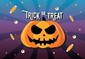 Gratis platte Halloween pompoen vectorillustratie