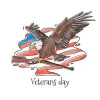 Bald Eagle Grijpen Geweer En Amerikaanse Vlag Vector