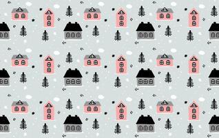 Hand getrokken Winter huis patroon vector