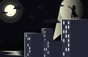 Superwoman Landschap Illustratie Vector