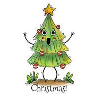 Leuke glimlachende kerstboom vector