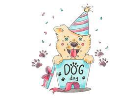 Leuke hond met feest hoed en geschenk doos vector