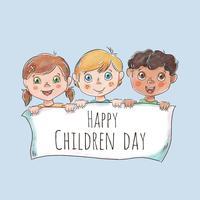 Leuk kinderenkarakter die witte banner voor kinderendag houden