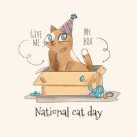 Cute Cat Character Inside A Box voor Cat Day Vector