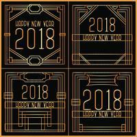 Vector Art Deco Nieuwjaarskaarten