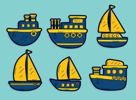 Blauwe en gele treiler boot Vector