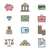 Geschetste pictogrammen over het bedrijfsleven vector