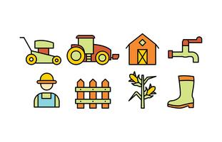 Landbouw doodle pictogram pack vector