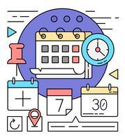 Lineaire kalenderpictogrammen vector