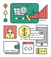 Lineaire online winkelen vectorillustratie vector
