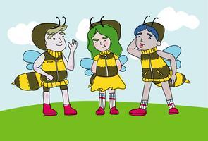 Fun Kids Wear Hornets Costume Character Vector Cartoon Illustratie