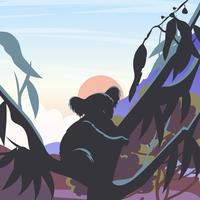 Silhouet Van Koala In Een Gomboom Vectr vector