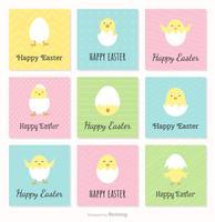 Gelukkige Pasen-kaarten met leuke kippen en gebroken eieren