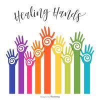 Kleurrijke bereiken Healing Hopi Hands Vector Design