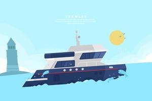 Trawler Illustratie vector