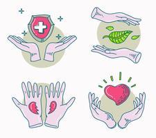 Helende handen bescherming Hand getrokken vectorillustratie