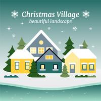 Gratis platte ontwerp Vector Christmas Landscape