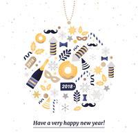 Gratis platte ontwerp Vector Nieuwjaarsgroet