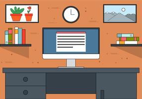 Gratis platte ontwerp Vector Office illustratie