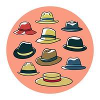 Gratis kleurrijke Panama Hats collectie Vector