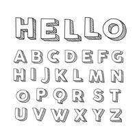 3D-lettertypen Hand getrokken