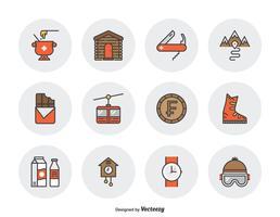 Zwitserland cultuur gevuld overzicht iconen vector