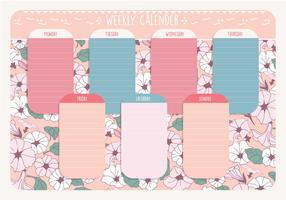 Afdrukbare wekelijkse kalendervector