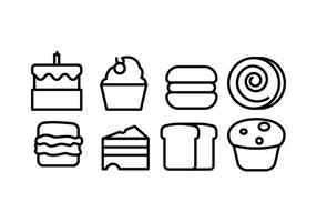 Brood en bakkerij pictogrammen
