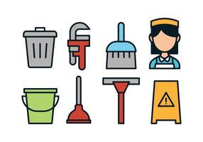 conciërge gereedschap icon set