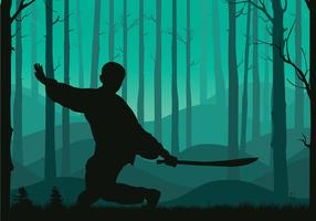 Wushu silhouet gratis vector