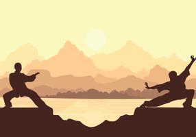 Wushu Silhouet Zonsondergang Gratis Vector