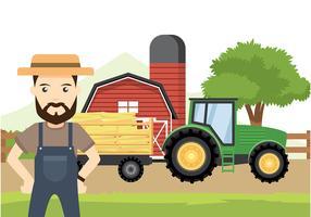 Hayride Met Farmer Gratis Vector