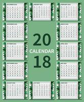 Gratis groen afdrukbare kalender illustratie vector