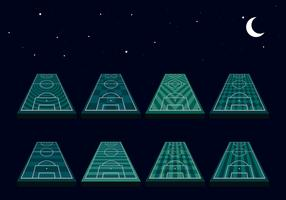 Voetbalveld Perspectief Nachtmodus Gratis Vector