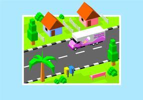 Isometrische Ice Cream Moving Van gratis Vector