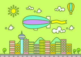 Dirigible Flying Over The City Gratis Vector