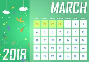 Maart Afdrukbare maandelijkse kalender Gratis Vector