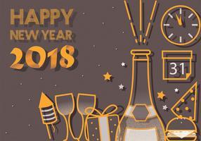Gelukkig Nieuwjaar 2018 Vectorkunst vector