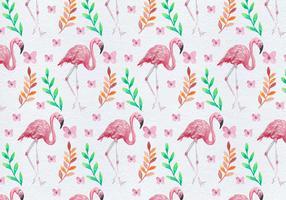 Gratis geschilderde Flamingo bloem vector patroon