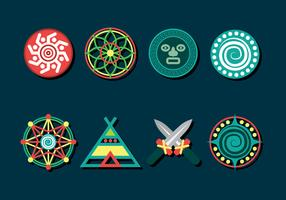 Sjamaan Icons Set vector