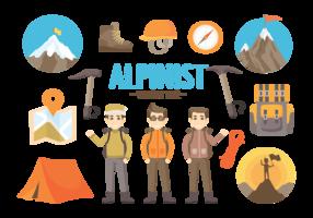 Alpinist Hulpmiddelen Vectorillustraties vector
