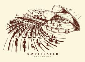 Hand getekende Amphitheater illustratie vector