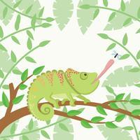 Kameleon met bos achtergrond vector