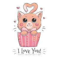 Cute Cat Character Inside A Gift Box To Valentine's day