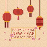 Flat Chinees Nieuwjaar vectorillustratie