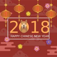 Flat Chinees Nieuwjaar vectorillustratie vector