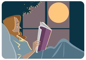 Bedtijd en het lezen van boek Vector