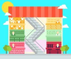Winkelcentrum Flat Illustratie Vector