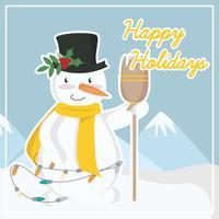 Vector schattige sneeuwpop illustratie